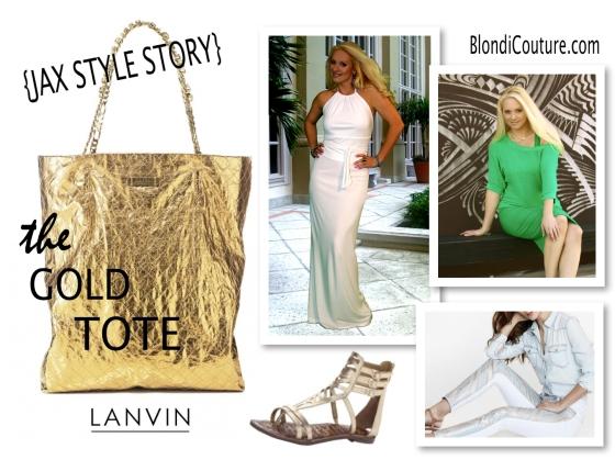Lanvin gold tote lookbook blondi couture