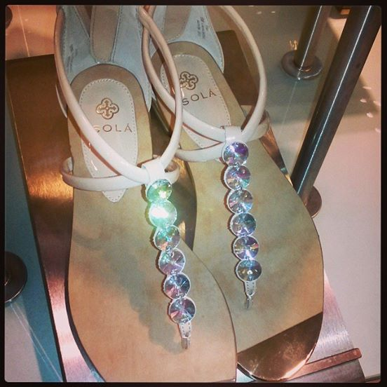 sola crystal sandals with nude strapping